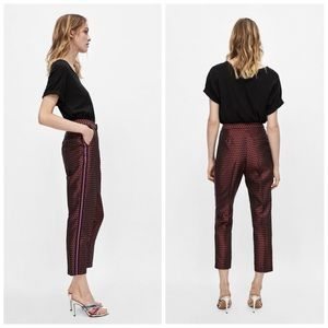 ZARA Jacquard Floral Cropped Trousers